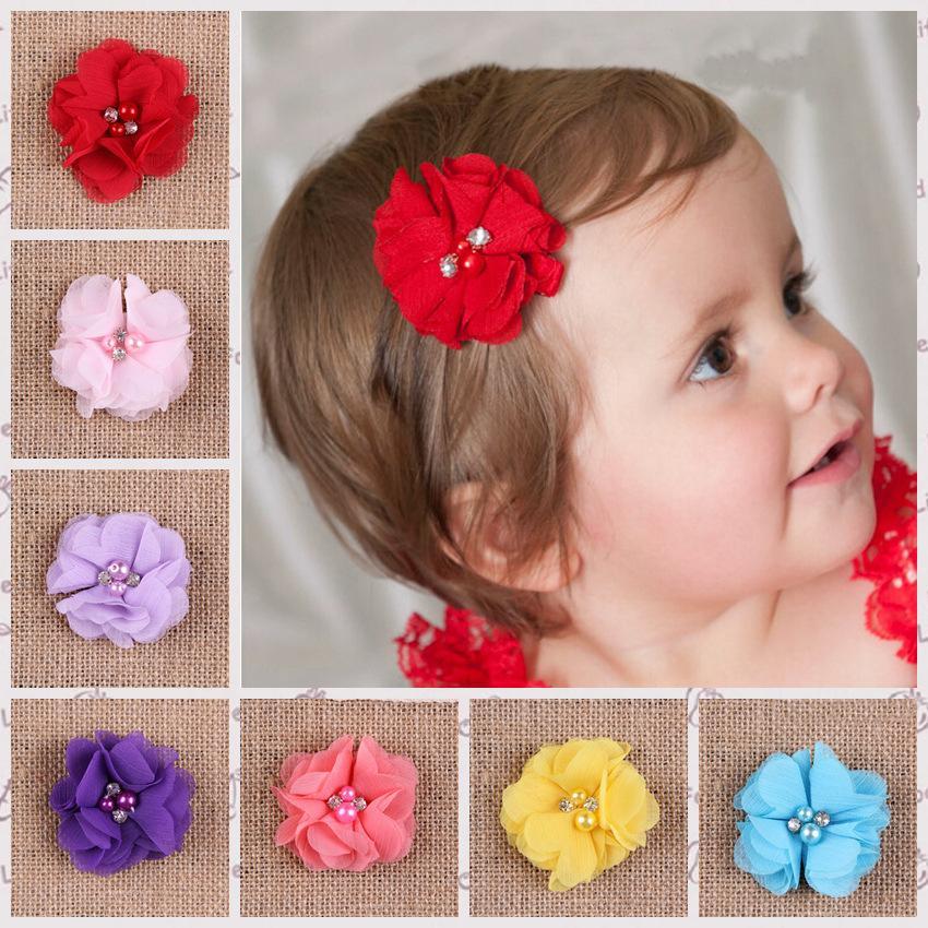 5cm Chiffon Flower Hair Clip Hairpins Baby Girls Toddler Kids Hair Bands Clips Hairpin Girls Hair Rhinestone Hair Accessories(China (Mainland))