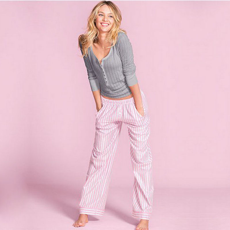 Best sale spring&summer simple cotton quality long sleeved casual women pajamas Sets pyjamas for women sleep lounge pijama mujer(China (Mainland))