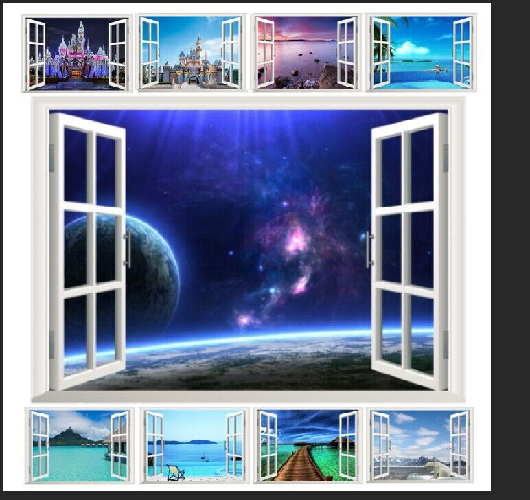 10 styles for you choose  hot selling 3D Window Decal WALL STICKER Home Decor Exotic Beach View Art Wallpaper Mural
