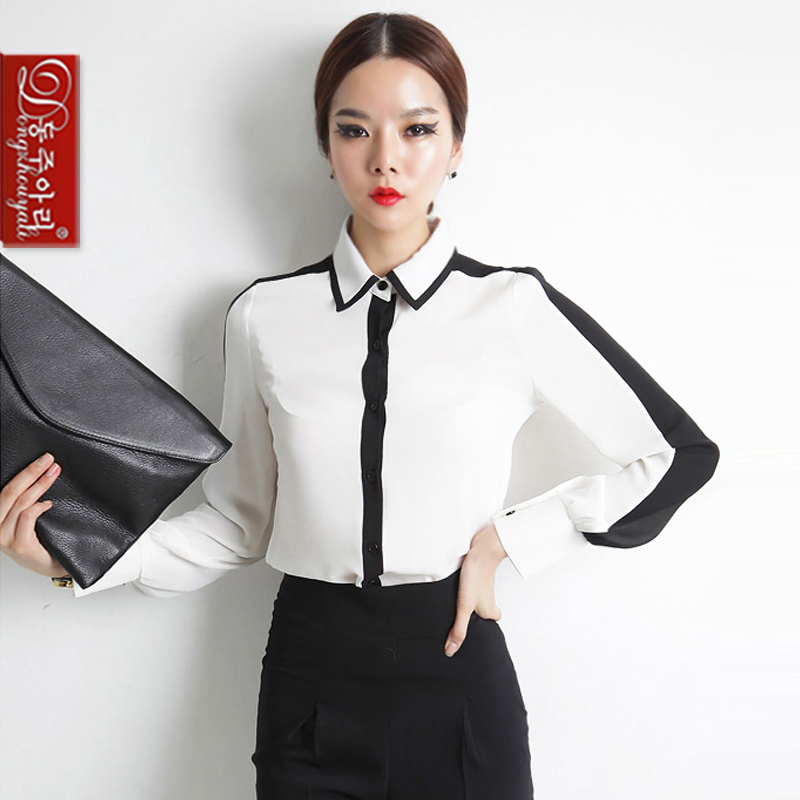 Spring Autumn women's plus size shirts lady's long sleeve turn-down collar white black patchwork formal - Fashion and Romantic Store store