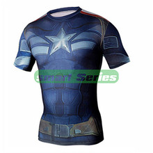 Marvel Super Heroes Spiderman Captain America Batman Lycra Compression Tights sport T shirt Men fitness clothing short sleeves