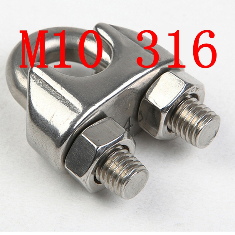 M10,10mm STAINLESS STEEL WIRE ROPE GRIP CLIP CABLE CLAMP SS 316<br><br>Aliexpress