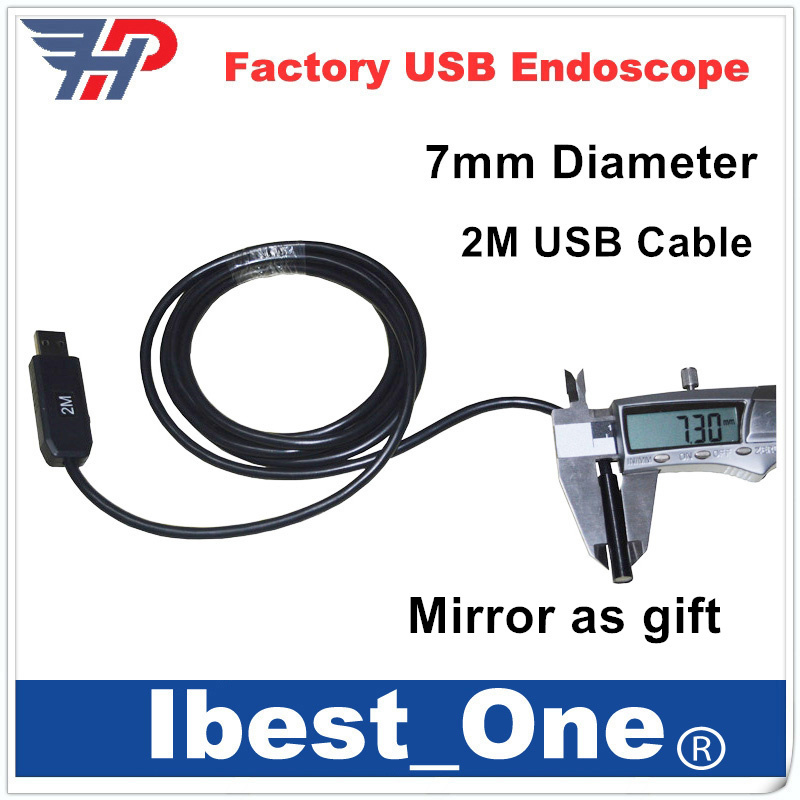 """2m 7mm Camera Lens USB Cable Waterproof 6 LEDs Night Vision 1/9"""" CMOS Mini Video Endoscope Inspection Pipe Camera Snake Camer(China (Mainland))"""