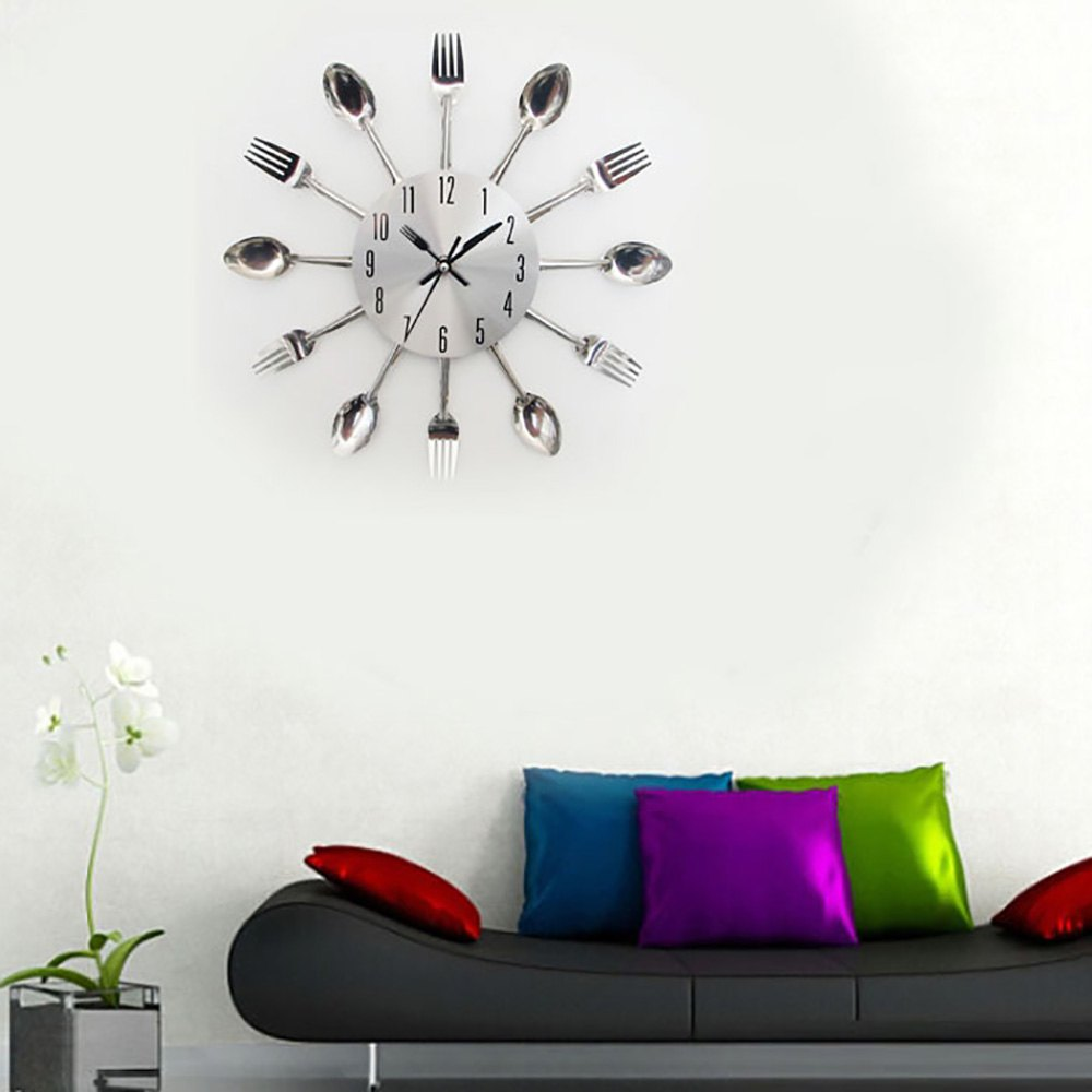 3D Digital Wall Clock Stainless Steel Knife Fork Modern Design Large Kitchen Wall Watch Clocks Quartz For Home Office Decoration(China (Mainland))