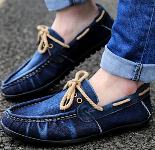 the new 2014 men doug shoes washed jeans canvas loafer