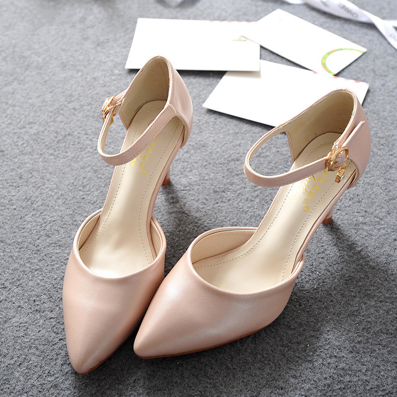 Big Size US 4-10 Womans New Summer Leather Pointy Toe Buckle Strap Sandal OL Fashion Low Heel Shoes Wedding Pumps(China (Mainland))