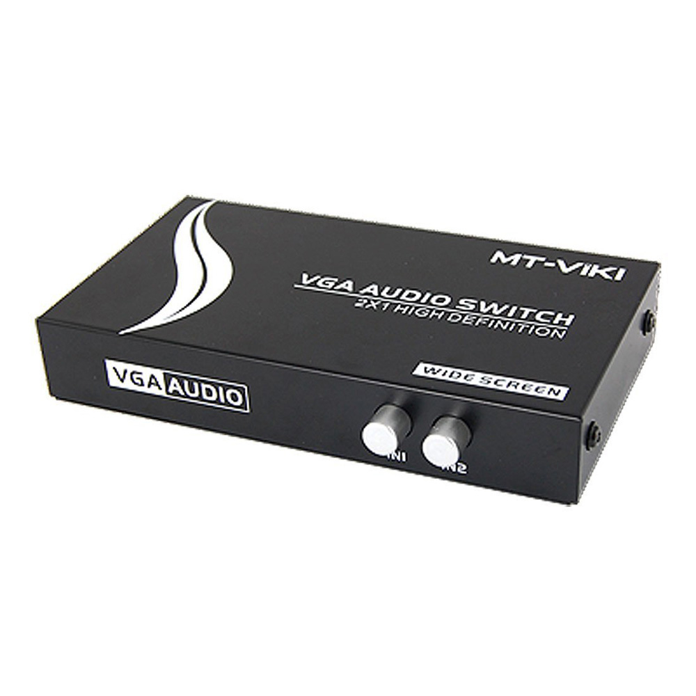 USA Delivery New 2 in1 Press Button Dual 15Pin VGA Ports In Audio Splitter Switch Box Black(China (Mainland))