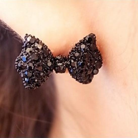Hot 2015 New Year Gift Fashion Vintage Stud Earrings Black Bow Tie Earrings Jewelry Accessories for women girls Wholesale(China (Mainland))
