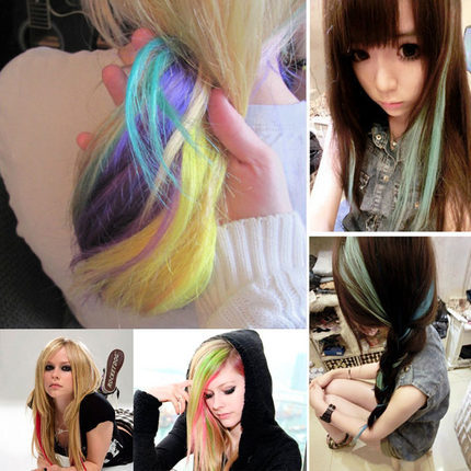hair clip Color hair piece/ highlights A chip non-trace gradients colors Hair Extend/Straight hair wig piece connected FREE SHIP(China (Mainland))