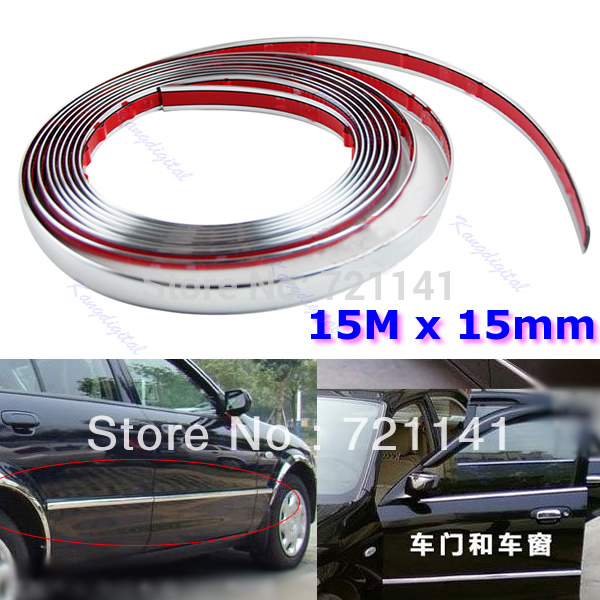 J34 Free Shipping 15M 15mm Car Auto Chrome DIY Moulding Trim Strip For Window Bumper Grille Silver(China (Mainland))