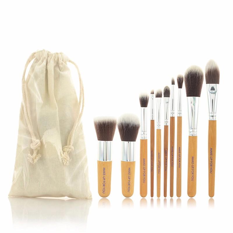 10pcs/lot   Bamboo handle makeup brush set  Makeup Cosmetic Brush Professional Beauty tools cleaner kit blending Powder set