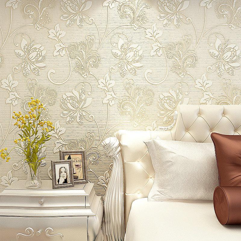 Luxury Italian Silk Fabrics Vintage 3D Floral Wall Paper
