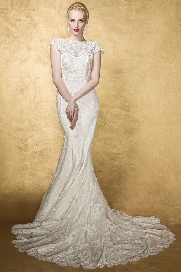 2015 Bestting selling beautiful vintage cap short sleeve backless bow lace wedding dress Vestidos de novia 2g0123 - ebelz forever store