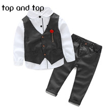 Fashion 2016 new winter The boy gentleman 3pcs/set baby boy clothes long sleeve t-shirt +Vest+pants kids party suit high quality(China (Mainland))