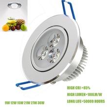 1 Stücke 9 Watt 12 Watt 15 Watt 21 Watt 27 Watt 36 Watt LED Decke Downlight Dimmbare 110 V-245 V kühlen/warmweiß Epistar Deckenleuchte Einbaustrahler Licht(China (Mainland))
