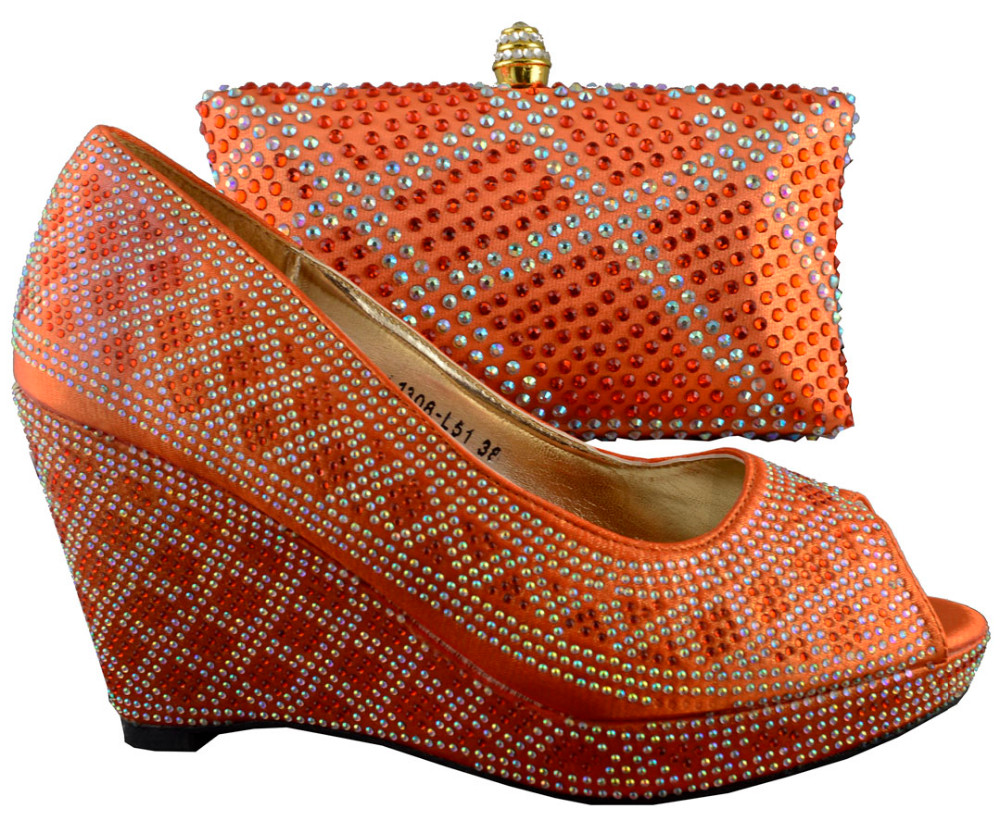 Nice Orange for 1308-L51size 38-42,High quality matching shoes and bag set Free shipping for shoes with matching bag set.