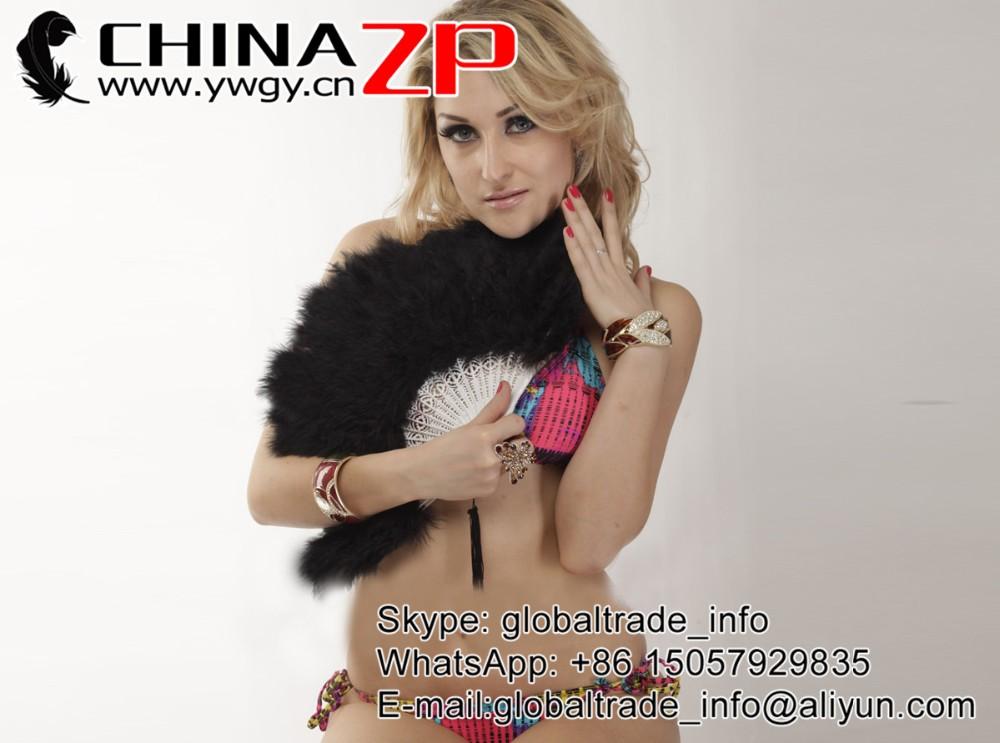 Elegant Black Marabou feather hand fan costume fun act Burlesque decor dancing3