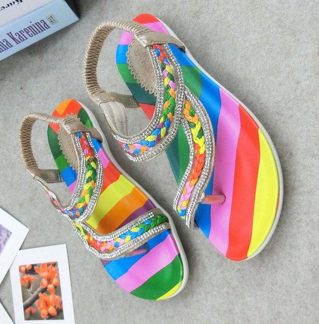 Женская обувь 2015 флип горный хрусталь сандалии красочные женщин, тапочки повседневная ...