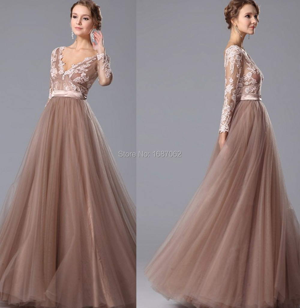 Sheer-Fashion-Ordinary Evening Dresses long sleeves lace appliques beaded long formal dresses dress party evening elegant(China (Mainland))