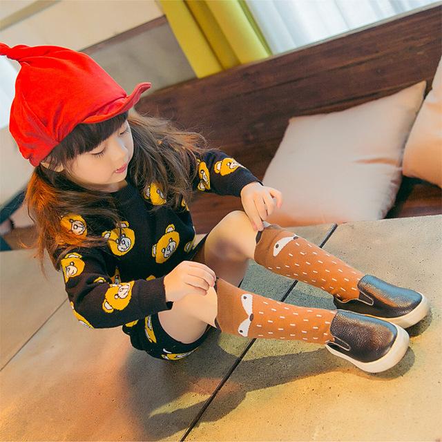 1 пара/лот мода мужская лисий детские гетры 3D носки для детей дети серый коричневый ...