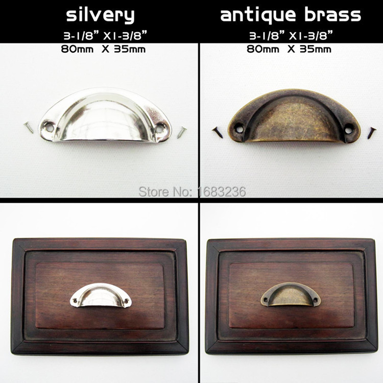 6pcs Antique Brass Silvery Shell Jewelry Box Chest Cabinet Cupboard Dresser Drawer Pull Furniture Door Handle 80x35mm with screw(China (Mainland))