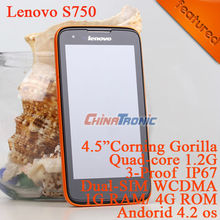 "Original Lenovo S750 3-proof Multi-language Android4.2+MTK6589 Quad-core 4.5""QHD Corning Gorilla IPS 1G RAM+4GB ROM Free Gift(China (Mainland))"