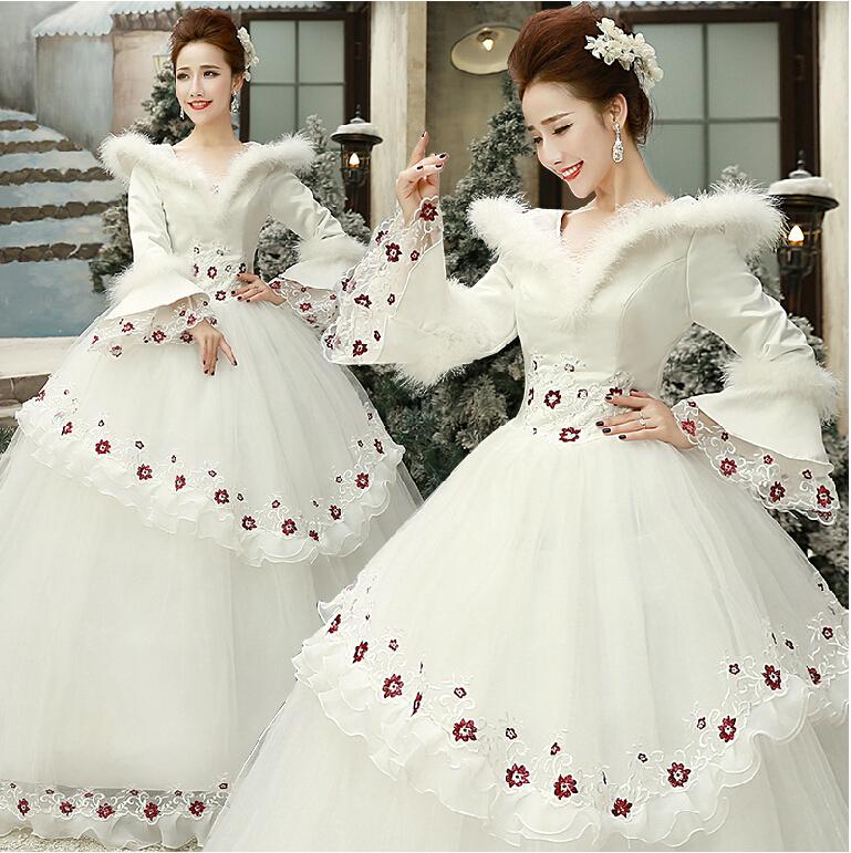 2015New elegant bride plus cotton long-sleeved winter fashion wedding dress(China (Mainland))
