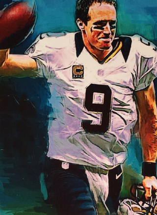 Original ART # DREW BREES NEW ORLEANS SAINTS oil painting--100% hand painted 36 inch- best home Decor(China (Mainland))