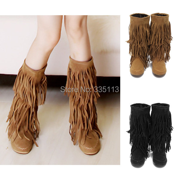 New Fashion Winter Women Mid Calf 3 Layer Fringes Tassels Artificial Suede Boots Flat Heel Slouch Solid Shoes Free Shipping(China (Mainland))