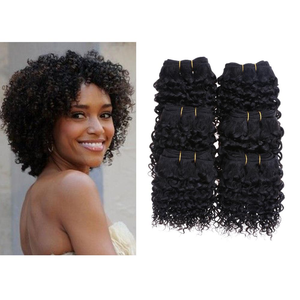 Cheap New 6Bundles/lot 300g 50g/pc Short Size 8Inch Brazilian Deepwave 7A Grade Human Hair Extension 100% Human Hair Weaving(China (Mainland))