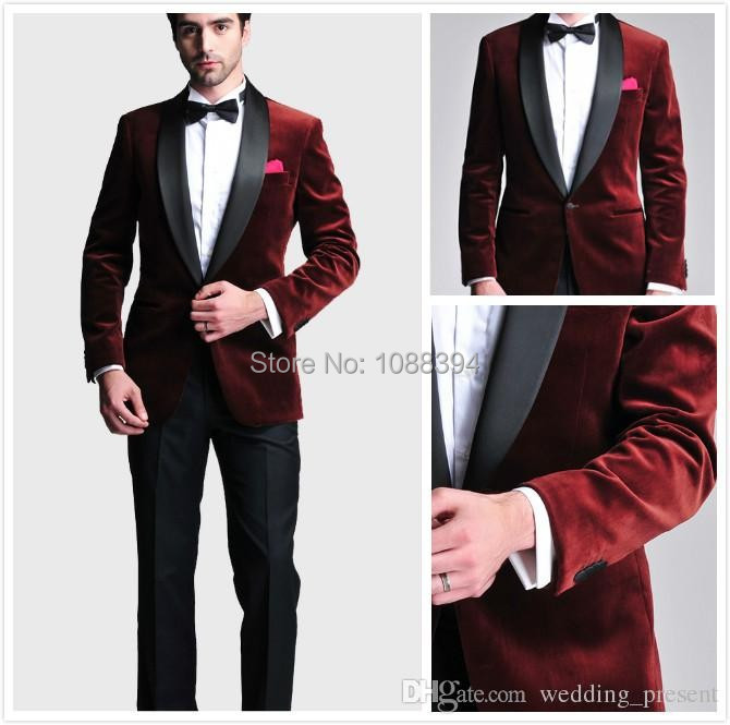 Best Selling Tuxedos For Men Tailor Made Men Wedding Suit Burgundy Velvet New Style One Button Groom Tuxedos Jacket+Pants+Bow(China (Mainland))