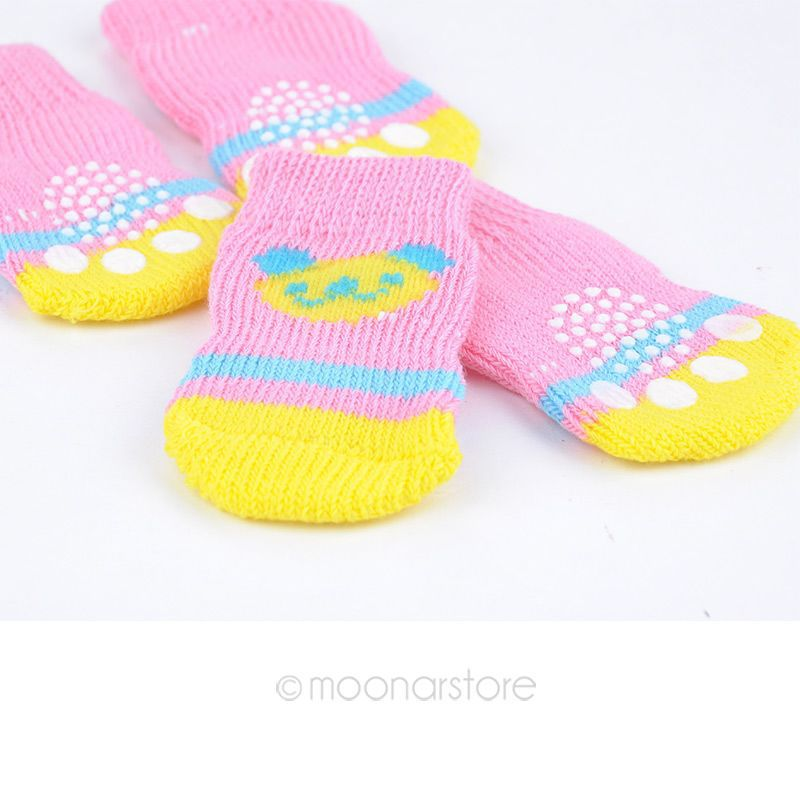 4pcs Free Shipping Cute Puppy Dogs Pet Knits Socks Anti Slip Skid Bottom Hot Sale Fashion Pet Products Clothing Y60*MHM641#S7(China (Mainland))