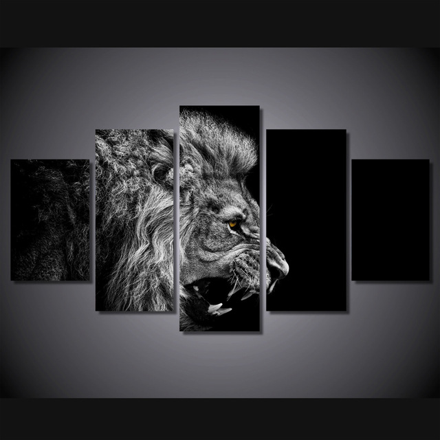 Home Decor HD Printed Lion White Black Painting Canvas Print Room Decor Print Poster Picture Canvas Painting (Unframed)(China (Mainland))