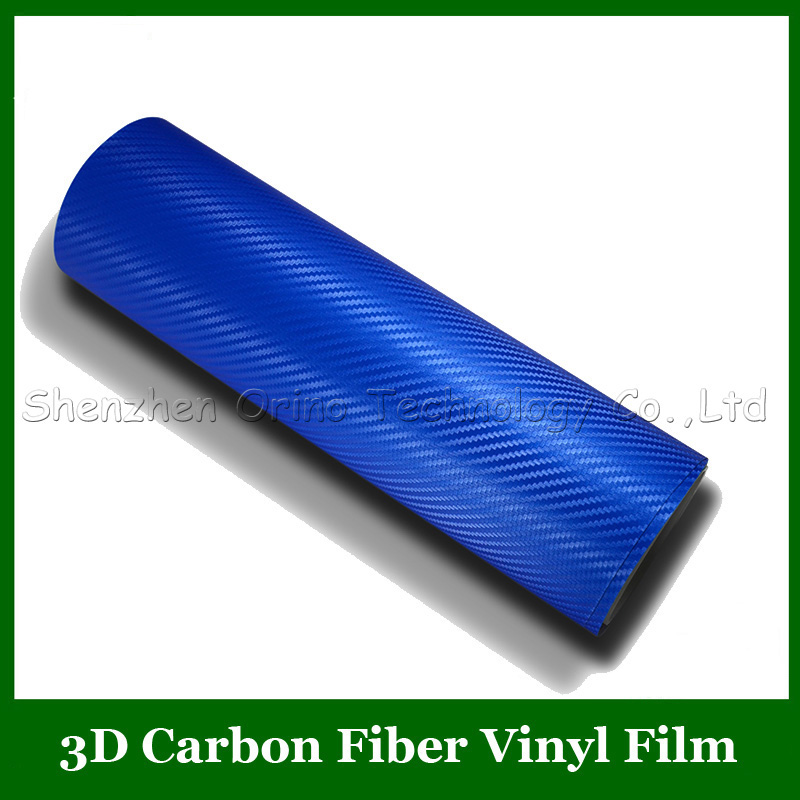 High Quality Size:1.52*30m/Roll Blue 3D Carbon Fiber Vinyl Film Carbon Fibre Film With Air Free+1pcs Freely Scraper Tool(China (Mainland))
