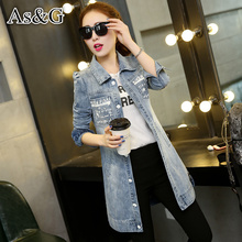 2016 Women Letter Printed Jean Jacket Spring Autumn Jeans Wear Elegant Denim Single Breasted Female Slim Ladies Vintage Coat