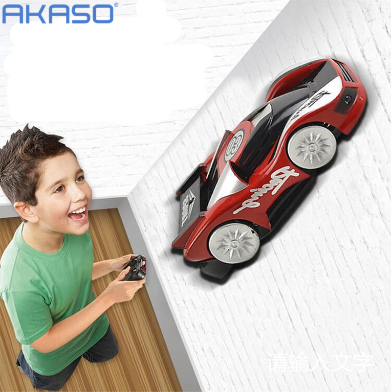 AKASO 2016 New 2 Types Climbing Wall RC Car Educational Mini Flashing Electric Remote Control Car Come With Box Kids Gift(China (Mainland))