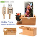 For Apple watch 38 42MM Wood Bamboo Dock Station Charging Stand Phone Golf Cable Charger For