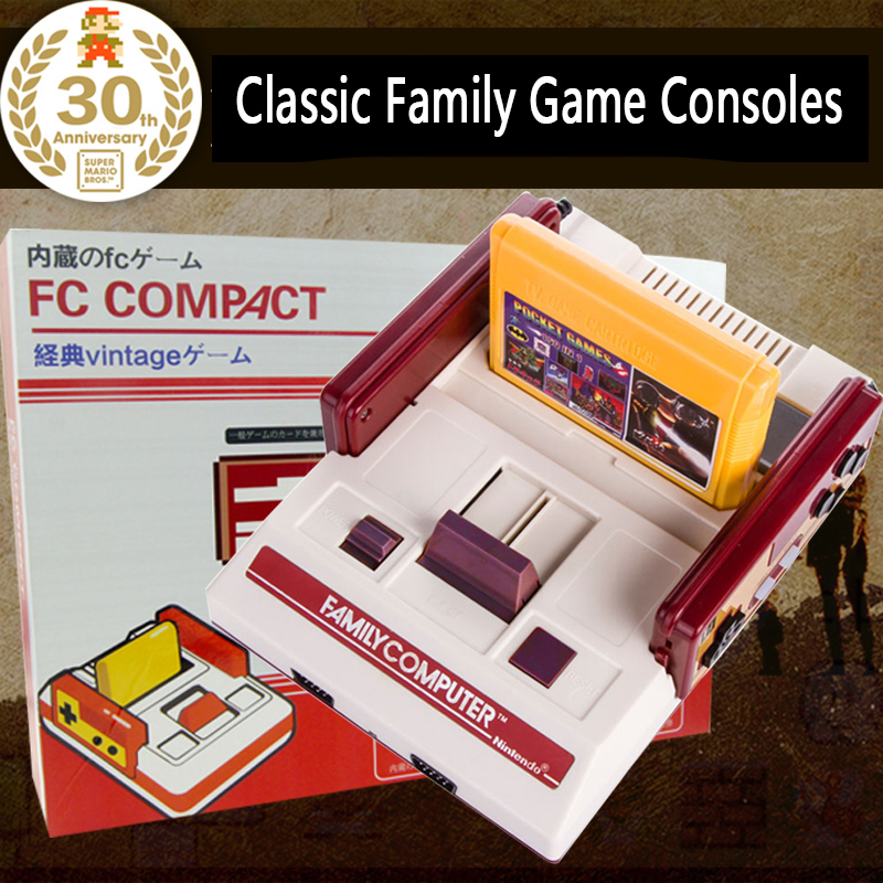 CoolBady Video Game Console FC Red White ClassicTV Game Family Game machine Yellow Cards Plug-in Card Games Wholesale Detail Box(China (Mainland))