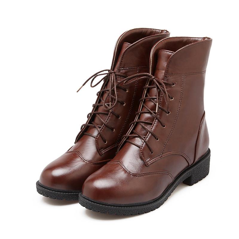 Automne et hiver bottes femmes à talons bas lace up équitation bottes femmes femmes chaussures hiver talon carré dames courtes bottes de l'armée(China (Mainland))