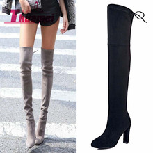Faux Suede Slim Boots Sexy over the knee high women snow boots women's fashion winter thigh high boots shoes woman #Y1159855F(China (Mainland))
