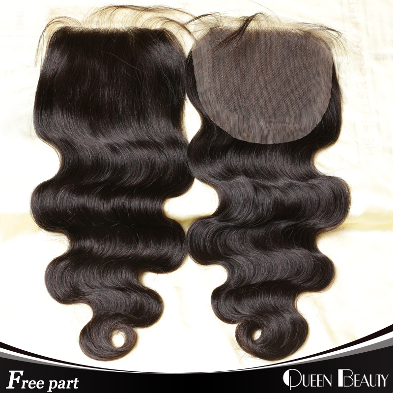 Top 7a Peruvian Closure Body Wave Free Part Middle Part 3 Part Closure Peruvian Lace Closure Bleached Knots Black Hair Closure(China (Mainland))