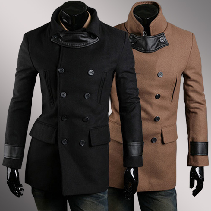 Brown Jacket Wool Men Double Breasted Wool Overcoat Coat Woolen Male Korean Slim Stylish Leather Stitching Chaqueta Hombre Lana(China (Mainland))