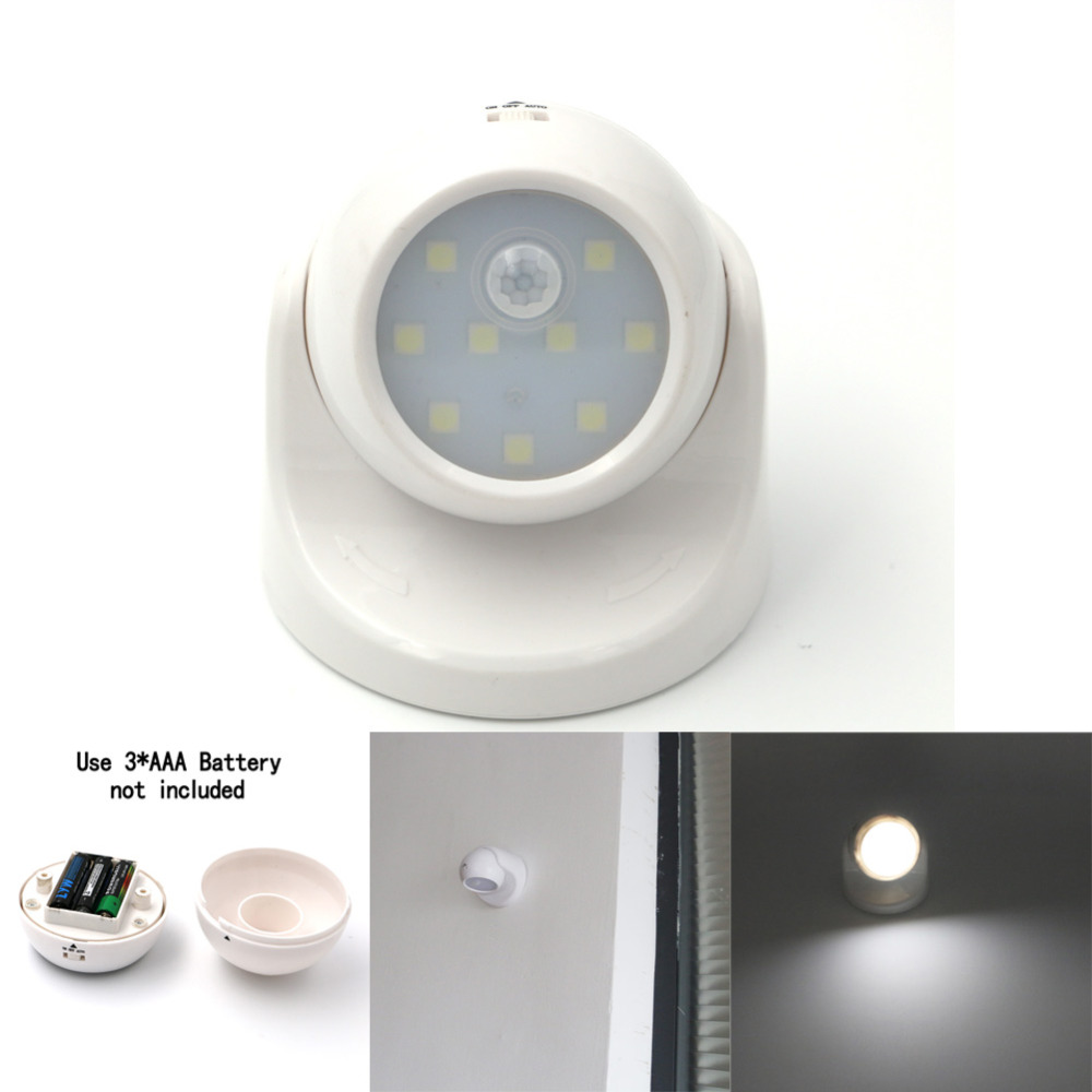 9 led motion sensor light wireless infrared home indoor. Black Bedroom Furniture Sets. Home Design Ideas