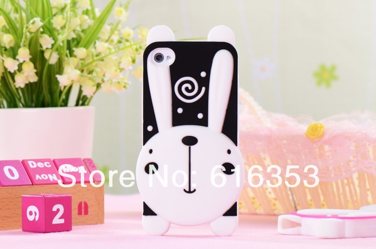 New Arrival For iphone 4 4g 4s Cute 3D Rabbit High Quality Sillicon case for iphone 4 4s 100pcs/lot free shipping(China (Mainland))