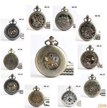 NEW Antique Vintage Bronze Skeleton Pendant Chian steampunk mechanical pocket watch Hand-winding Pendant Pocket Watch