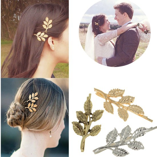 Fashion Vintage Athena Olive Branches Leaves Metal Barrettes Hairpins Bridal Hair Accessory 3 Colors[JH02050](China (Mainland))