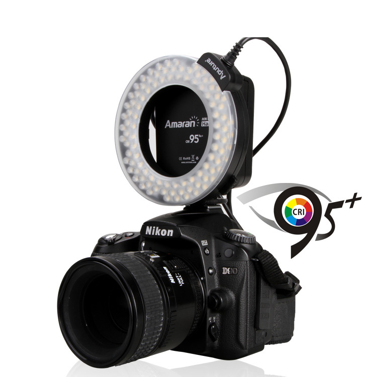 Aputure HN100 CRI 95+ Amaran Halo LED Ring Flash light For Nikon D7100 D7000 D5200 D5100 D800E D800 D700 D600 D90 Camera<br><br>Aliexpress