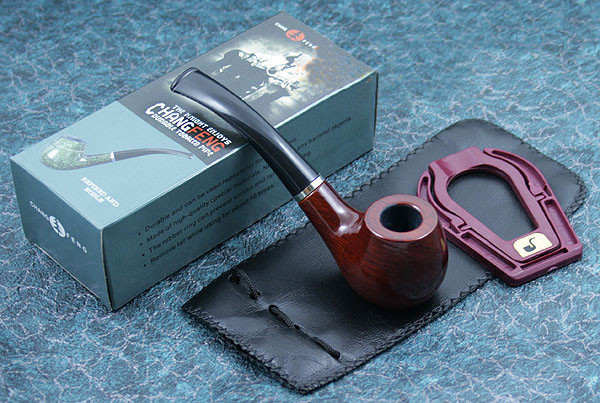 High Quality 1pcs Solid Wooden Smoking Pipe Tobacco Cigarette Cigar Smoking Pipes With Holster And