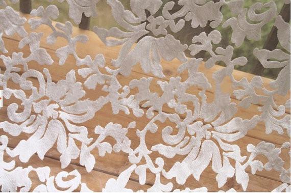 Off White bordado tela de encaje de organza, retro encaje floral, 2013 primavera nueva colección, del cordón del vintage, venta(China (Mainland))
