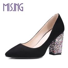 Buy Women Slingbacks high heels women shoes fashion Bling heel Elegant pumps Spring/Autumn Square heel office ladies work pumps for $28.68 in AliExpress store